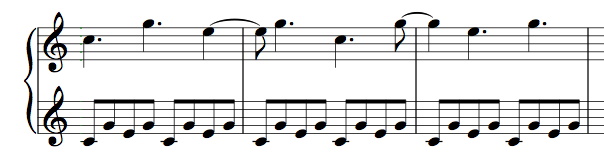 Connecting the Alberti Bass in a Larger Pattern